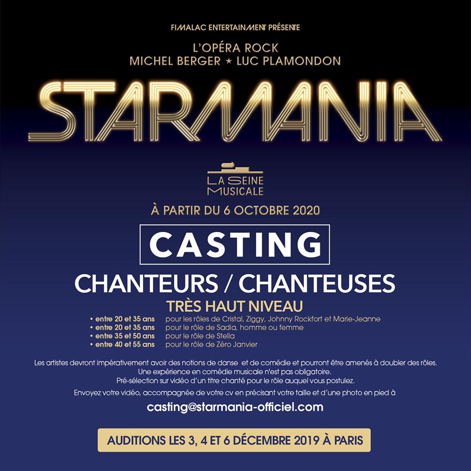 Filmez-vous et présentez-vous dans une vidéo; interpr^étez une chanson du rôle pour lequel vous postulez. Envoyez le tout (avec CV, photo en pied et des informations de type age, adresse, taille) à l'adresse : casting@starmania-officiel.com.